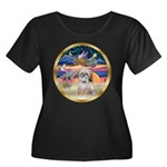 XmasStar/Shih Tzu Women's Plus Size Scoop Neck Dar