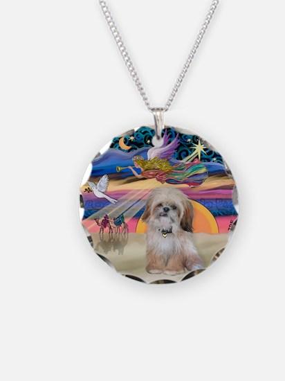 XmasStar/Shih Tzu Necklace Circle Charm