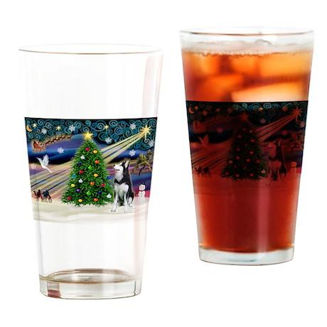 XmasMagic/Siberian Husky Drinking Glass