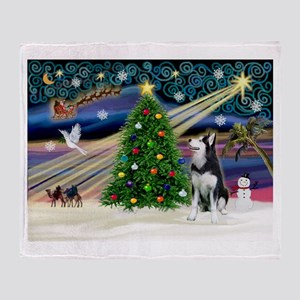 XmasMagic/Siberian Husky Throw Blanket