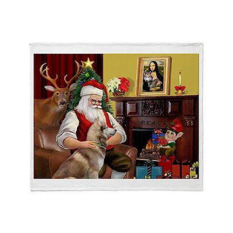 Santa's Red Husky Throw Blanket