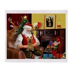Santa's Silky Terrier Throw Blanket