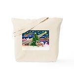 XmasMagic/Tibetan Spaniel Tote Bag