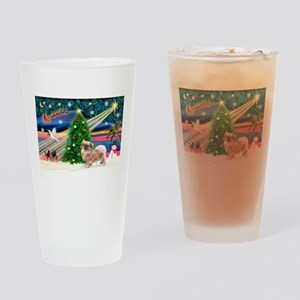 XmasMagic/Tibetan Spaniel Drinking Glass