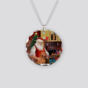 Santa's Vizsla Necklace Circle Charm