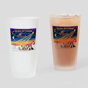 XmasSunrise/6 Corgis Drinking Glass