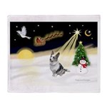 Night Flight/Corgi (BM) Throw Blanket