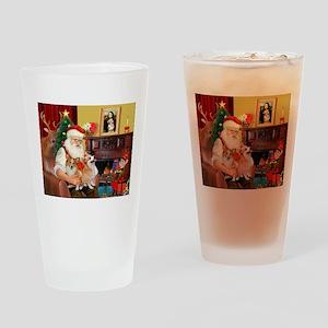Santa's 2 Corgis (P2) Drinking Glass
