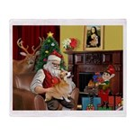 Santa's Welsh Corgi (7b) Throw Blanket