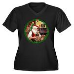 Santa's Welsh T Women's Plus Size V-Neck Dark T-Sh