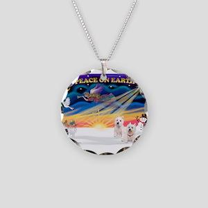 XmasSunrise/2 Westies Necklace Circle Charm
