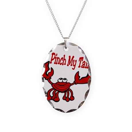 Pinch Me Smiling Crawfish Necklace Oval Charm