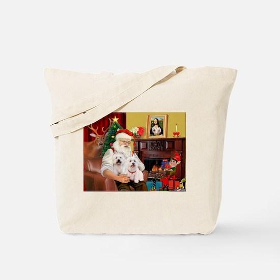 Santa's Westie pair Tote Bag
