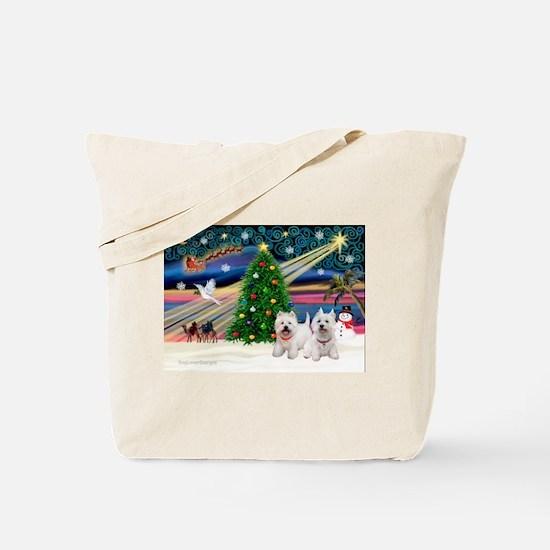 Xmas Magic & 2 Westies Tote Bag