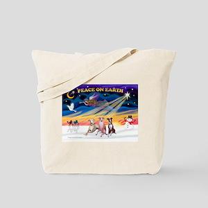 XmasSunrise/3 Whippets Tote Bag