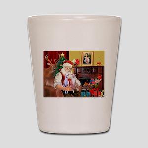 Santa & his 2 Whippets Shot Glass