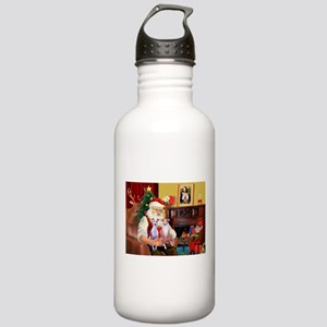 Santa & his 2 Whippets Stainless Water Bottle 1.0L