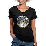 XmasMusic 3/Yorkie #17 Women's V-Neck Dark T-Shirt