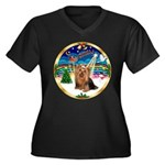 XmasMusic3/Yorkie #7 Women's Plus Size V-Neck Dark