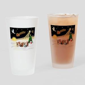 Night Flight/5 Yorkies Drinking Glass