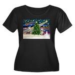 Xmas Magic/Yorkie #2 Women's Plus Size Scoop Neck