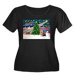 Xmas Magic & Yorkie Women's Plus Size Scoop Neck D