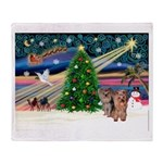 Xmas Magic & Yorkie Throw Blanket