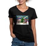 XmasMagic/2 Yorkies Women's V-Neck Dark T-Shirt