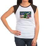 XmasMagic/2 Yorkies Women's Cap Sleeve T-Shirt