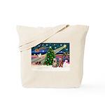 XmasMagic/2 Yorkies Tote Bag