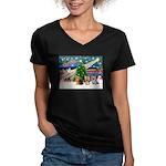 XmasMagic/3 Yorkies Women's V-Neck Dark T-Shirt