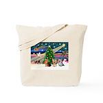 XmasMagic/3 Yorkies Tote Bag