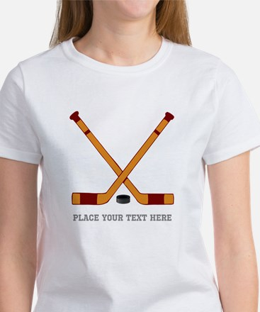 Ice Hockey Customize Women's Classic White T-Shirt