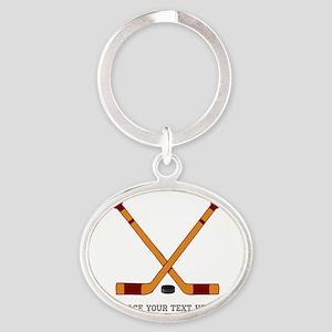 Ice Hockey Customized Oval Keychain