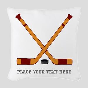 Ice Hockey Customized Woven Throw Pillow