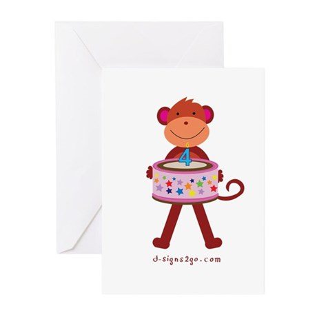 Fourth Birthday Cake Monkey Greeting Cards (Pk of