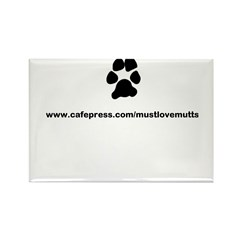 paw print/must luv mutts web Rectangle Magnet (100