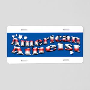 Blue American Atheist Aluminum License Plate