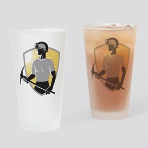 Coal Miner With Pick Ax Shiel Drinking Glass