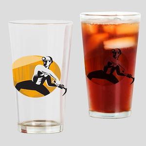 Coal Miner With Pick Ax Strik Drinking Glass