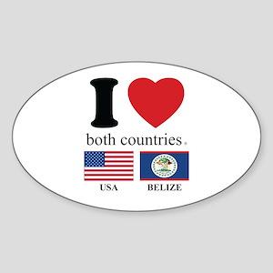 USA-BELIZE Sticker (Oval)