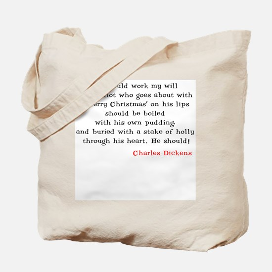 Scrooge With Quote On Back Tote Bag