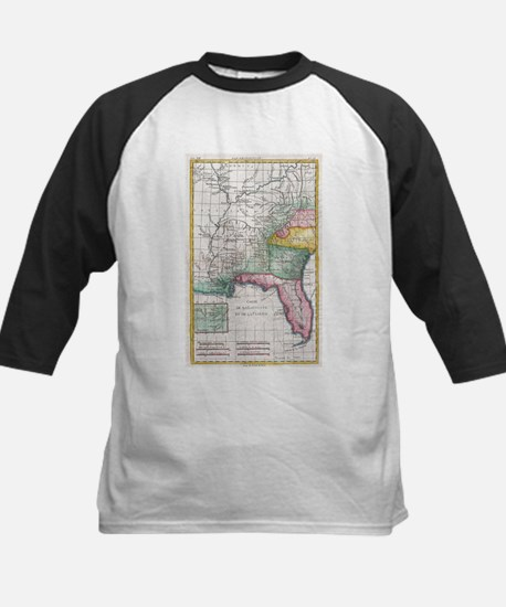 Vintage Map of Florida, Georgia an Baseball Jersey