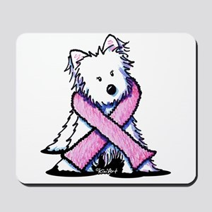 Pink Ribbon Westie Mousepad