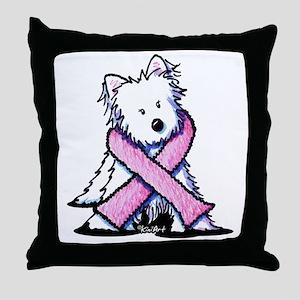 Pink Ribbon Westie Throw Pillow