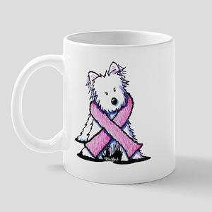 Pink Ribbon Westie Mug