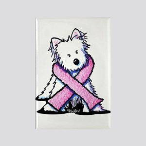 Pink Ribbon Westie Rectangle Magnet