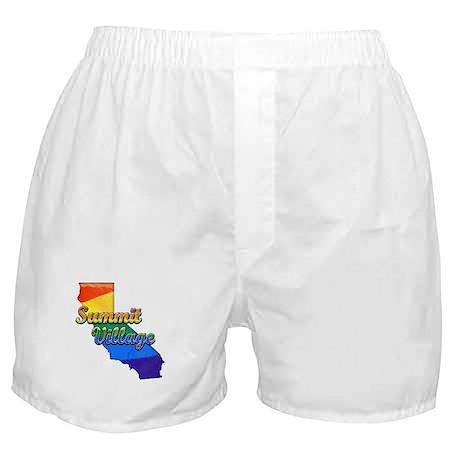 Summit Village, California. Gay Pride Boxer Shorts