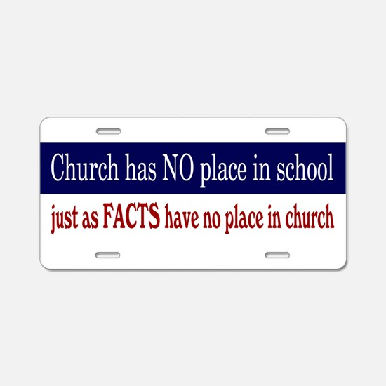 No Facts in Church RW+B Aluminum License Plate