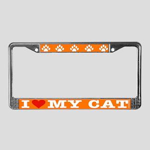 Heart Cat License Plate Frame: Orange/white letter